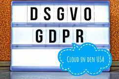 Illuminated plate with the inscription DSGVO and GDPR General Data Protection Regulation purple in English GDPR General Data Pr royalty free stock image