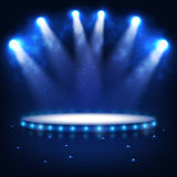 Illuminated Podium for Presentation in the Dark. Royalty Free Stock Photos