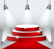 Illuminated Podium With Red Carpet. Vector Illustration. Royalty Free Stock Photo