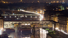 Illuminated Ponte Vecchio at night Royalty Free Stock Photography