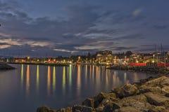 Illuminated port / marina of Lausanne (Ouchy), Switzerland Stock Photos