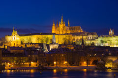 Illuminated Prague Castle, Czech Republic, Europe Stock Photo