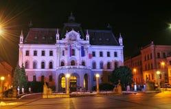 Illuminated Provincial Mansion, seat of the University of Ljubljana Stock Images