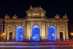 Illuminated Puerta de Alcalá in Christmas in Madrid Stock Image