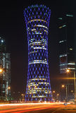Illuminated QIPCO Tower, Doha Stock Photography