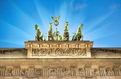 Illuminated quadriga on top of Brandenburg Gate Stock Image