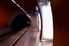 Illuminated Railroad Station Platform Stock Photos