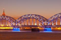 Illuminated railway bridge Royalty Free Stock Photo