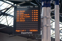 Illuminated Railway timetable. An image of a Scottish Railway timetable created using an array of light emitting diodes Royalty Free Stock Photography