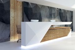 Illuminated reception desk in clean interior side. Side view of illuminated reception desk in clean office interior. Lobby and waiting area concept. 3D Rendering Stock Image