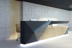 Illuminated reception desk in modern interior side. Side view of illuminated reception desk in modern office interior. Lobby and waiting area concept. 3D Royalty Free Stock Photo