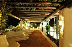 Illuminated recreation area of luxury hotel Royalty Free Stock Images
