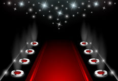 Illuminated Red Carpet Stock Photography