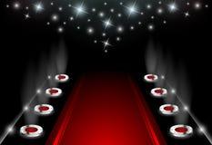 Illuminated Red Carpet Stock Photography
