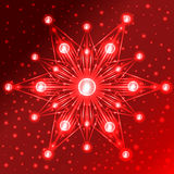 Illuminated red star with lights on its rays on red gradient background with sparkles. Abstract illuminated red star with lights on its rays on red gradient Royalty Free Stock Image
