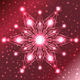 Illuminated red star with lights on its rays on red gradient background with sparkles. Abstract illuminated red star with lights on its rays on red gradient Royalty Free Stock Photography