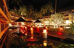 Illuminated relaxation area of luxury hotel Stock Image
