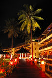 Illuminated relaxation area of luxury hotel Royalty Free Stock Images