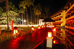 Illuminated relaxation area of luxury hotel Stock Photo
