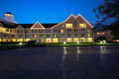 Illuminated resort at night Stock Photography