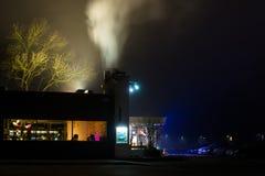 Illuminated Restaurant in the Night. Urban Scene with Illuminated Restaurant in the Night Stock Photo