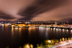 Illuminated Riddarholmen. Riddarholmen (Swedish: The Knights' Islet) is a small islet in central Stockholm, Sweden Stock Photography