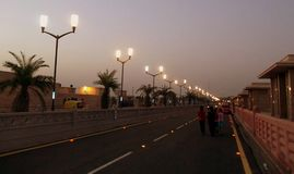 Illuminated road Stock Images