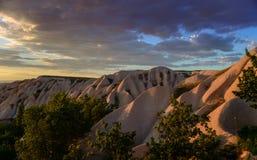Illuminated rocks and clouds - beautiful Cappadocia Stock Photography