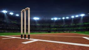 Illuminated round cricket stadium at night with wooden wickets closeup stock photography