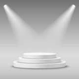 Illuminated round white stage podium. Illuminated round white stage podium pedestal. Vector illustration Stock Images