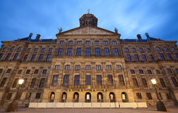 Illuminated Royal Palace of Amsterdam Against Blue Sky of Dusk Royalty Free Stock Image
