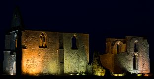Illuminated ruins of an ancient cathedral. Royalty Free Stock Photos
