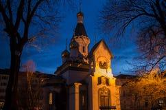 Illuminated Russian Church in Sofia. The Russian Church Saint Nikolay during night in Sofia, Bulgaria royalty free stock photos