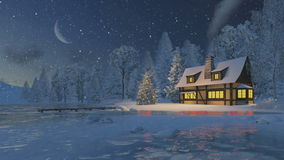 Illuminated rustic house and christmas tree stock video
