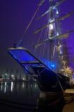 Illuminated sailing ships. Spectacular illuminated russian sailing ship in Tall ships Regatta 2014 . Picture taken at Varna port, Bulgaria on May 1st, 2014 stock photo