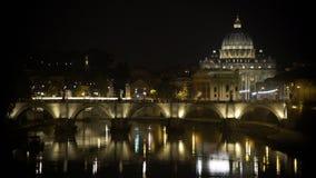 Illuminated Saint Peter Basilica church, Vatican City, beautiful night landscape. Stock footage stock video
