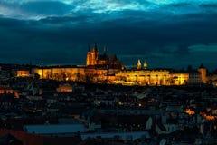 Illuminated Saint Vitus cathedral in Prague. Royalty Free Stock Photography