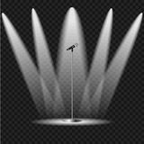 Illuminated scene with a microphone Royalty Free Stock Images