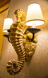 Illuminated seahorse wall lamp Royalty Free Stock Photo