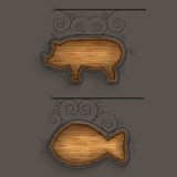 Illuminated Set of Wooden Signboards. Vector Illustration Royalty Free Stock Image