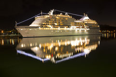 Illuminated Seven Seas Navigator ship Stock Photography