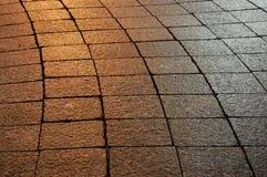 Illuminated sidewalk Royalty Free Stock Photography
