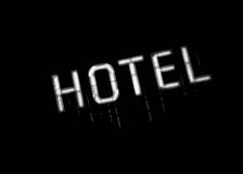 Illuminated sign HOTEL at night Royalty Free Stock Image