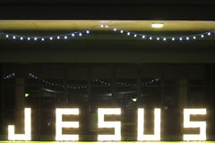 Illuminated sign Jesus Royalty Free Stock Photo