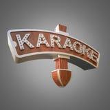 Illuminated sign karaoke on grey background. Royalty Free Stock Photography