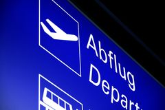 Illuminated sign to the departure Royalty Free Stock Images