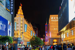Illuminated signs of luxury stores on Nanjing Road, Shanghai Stock Photos