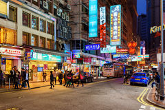 Illuminated signs on the street of night city Hong Kong Royalty Free Stock Image