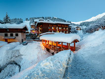 Illuminated Ski Resort of Madonna di Campiglio in the Morning Stock Photos