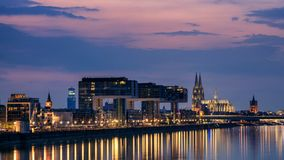 Illuminated skyline of Cologne. With Rhine river, Germany stock photos
